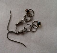 Chain Dangle Earrings with Brown/Blue Bead by AllSylviasCreations, $5.50