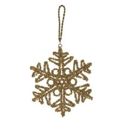 Amazon.com: Christmas Decoration Antique Gold Snow Flake Ornaments Xmas Set of 2: Home & Kitchen