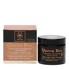 Apivita Queen Bee Firming and Restoring Night Cream 1.76 oz. by Apivita. $69.00. A rich, natural anti-aging night cream for mature skin. Apivita Queen Bee Firming and Restoring Night Cream uses honey and royal jelly to deeply hydrate and restore the skin while you sleep. Beeswax, honey and rice bran oil smooth the skin, reducing the appearance of wrinkles, while salicylic acid gently exfoliates and removes dead skin cells.