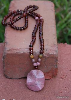Rhodonite Rosewood Mala  Meditation Inspired Yoga Beads