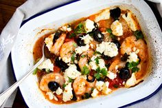 Baked prawns with feta and olives - Recipes - Eat Well with Bite Olive Recipes, Midweek Meals, Green Curry, Feeding A Crowd, Just Cooking, Vegetable Pizza, Feta, Olives