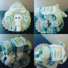 Elephant Diaper Cake squareup.com/store/preciousdiapercakez