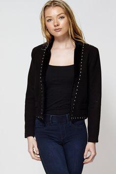 Faux Fur Trim Studded Short Fleece Jacket