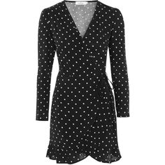 Printed Wrap Dress by Oh My Love ($55) ❤ liked on Polyvore featuring dresses, spotty dress, wrap dress, polka dot dress, polka dot wrap dress and spotted dress