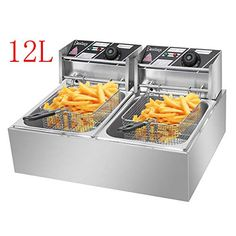 MAX Deep Fryer with 2 Baskets, Stainless Steel Dual Basket Electric Fryer, Countertop Food Cooking & French Fries Fryer for Chicken Chips Home Kitchen Restaurant (a) – Online Cooking Store French Fries Fryer, Cooking French Fries, Home Deep Fryer, Chicken And Chips, Electric Deep Fryer, Mobile Catering, Baskets, Commercial Electric, Kitchen Shop