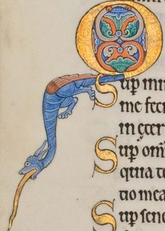 From the astonishingly beautiful Hunterian Psalter. I'm not sure if that is it's tongue or if it is swallowing a snake. Medieval Manuscript, Medieval Art, Illuminated Letters, Illuminated Manuscript, Glasgow University, Letter Art, Religious Art, Islamic Art, Hand Lettering