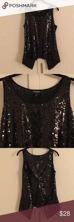 Express top NWT ❤️ Split back top from Express! Sequins over in front and back!!Has split back! Never worn ! No trades! Express Tops Tank Tops