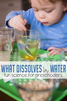 Learn about what dissolves in water with a preschool science experiment. You'll just need a few pantry staples and water! Water Science Experiments, Science Week, Science Experiments For Preschoolers, Summer Science, Science Fun, Science Centers, Science Chemistry, Earth Science, Science Labs
