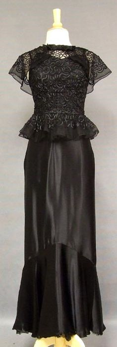 1930's Satin Mermaid Gown w/ Appliqued Tulle Overblouse