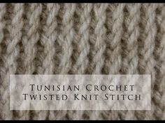 Tunisian Crochet Twisted Knit Stitch punto a diritto tunisino Crochet Afghans, Tunisian Crochet Patterns, Appliques Au Crochet, Afghan Stitch, Crochet Twist, Crochet Videos, Knitting Stitches, Crocheting, Spirograph