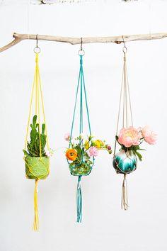 BASIC+Macramé+Plant+Hanger+In+Various+Colours Kraft Gift Boxes, All Plants, Plant Hanger, Macrame, Colours, Material, Design, Gifts, California