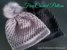 Faux Fur Pom Pom Textured Hat – Free Crochet Pattern