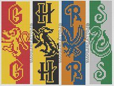Harry Potter Bookmark, Harry Potter Scarf, Harry Potter Crochet, Alpha Patterns, Loom Patterns, Beading Patterns, Minecraft Quilt, Minecraft Pixel Art, Minecraft Buildings