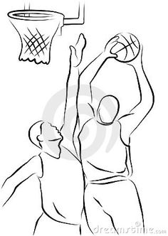 Illustration about Line drawing of two basketball players. Illustration of slam, court, jump - 18196106 Basketball Doodle, Basketball Drawings, Basketball Tattoos, Sports Drawings, Basketball Players, Outline Drawings, Cartoon Drawings, Cartoon Art, Art Drawings