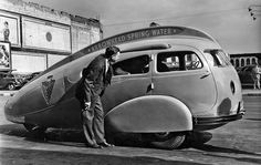 Arrowhead 'Teardrop' car: This photo of a promotional vehicle for Arrowhead Spring Water was recently found in the Los Angeles Times archive. The only information on this unpublished image was the date of Oct. 2, 1936 and staff photographer J.H. McCrory's name.