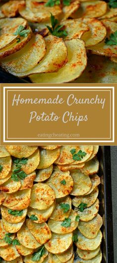 This recipe for homemade potato chips can be great if somebody is coming for a visit. Perfect homemade potato chip snacks instead of bought ones. Be different and enjoy this crunchy homemade potato chips!