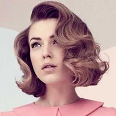Vintage inspired pink purple lob bob mid length hair tousles