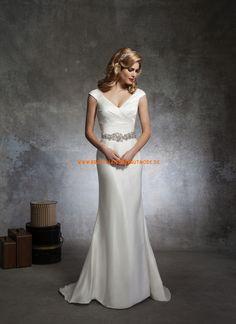 2014 Sexy günstige Brautkleider aus Satin V-Ausschnitt