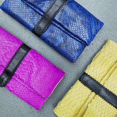 Fabienne Chapot, New York clutches, pink blue and yellow snake leather