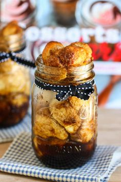 "Yummy! Needs time to rise& how much are jars? How about pint sized jars? "" Monkey Bread in a Jar (or Cinnamon Pull-Apart Bread). Ooey gooey pieces of pastry glazed in cinnamon sugar in a neat little personal sized jar."""