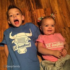 """Get yours today www.jeepbeef.com #liljeepbeef and #liljeepher apparel  _________  By  everyones favorite #JeepFamily @liljeepfamily """"The two #cutest lil'#Jeepers in the world officially have their own #liljeepbeef and #liljeepher shirts thanks @jeepbeef!!!  _____ It's too dark and cold out right now to take a pic in their #Jeeps so this will have to do for now!!!  _____ You can purchase these shirts at JeepBeef.com"""" @allsportsetc #jeep #jeepbeefapproved #Padgram"""