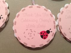 Ladybug baby shower thank you favor tags from Dragonfly Papier on Etsy.