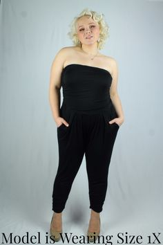 Gorgeous black harem cut jumpsuit. Fitted top, loose through hips and tummy. Features pockets. Soft and stretchy jersey fabric. 1X fits 12-14, 2X fits 16-18, 3X fits 20-22 Prices are in Canadian Dollars. $60 Canadian is approximately $46 USD, and the currency will be converted by your card issuer (V