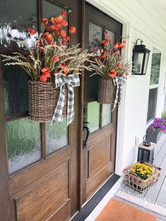 Spring Flower Basket Wreaths for Our Front Doors - Beneath My Heart Home Decor Baskets, Basket Decoration, Baskets On Wall, Front Door Decor, Wreaths For Front Door, Front Doors, Front Porch, Door Wreaths, Fall Hanging Baskets