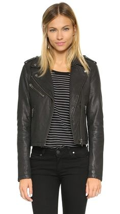 Doma Classic Leather Moto Jacket from ShopBop