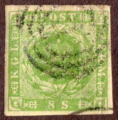 Denmark Scott 5a Yellow Green Imp 8Sk Used 1857  dotting in spandrel