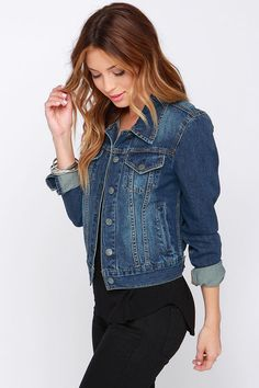 Distressed Cropped Denim Jacket.