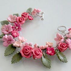 Flower Bridal Charm Bracelet - Polymer Clay. $ 125.00, via beadscraftz on Etsy.