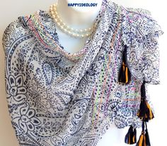 Tassels Scarf.Blue and White by HappyIdeology on Etsy