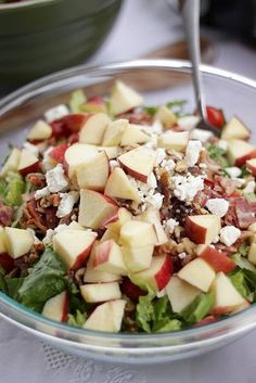 Amazing Raspberry Vinaigrette Salad! it has bacon, apples, walnuts, and feta cheese (lots of apples, modest bacon - crunchy/sweet/salty/protein/Omega 3s) and I bet this would be good just made with spinach instead of mixed greens (make sure dressing is not high in fat/sugar)