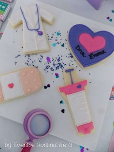 Doc McStuffins Heart with child's name Cute Cookies, Cupcake Cookies, Sugar Cookies, Cupcakes, Doc Mcstuffins Cookies, Doc Mcstuffins Birthday Party, Girl 2nd Birthday, 6th Birthday Parties, Birthday Ideas