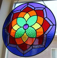 STAINED GLASS SUNCATCHER Rainbow Window by SunflowerGlassworks