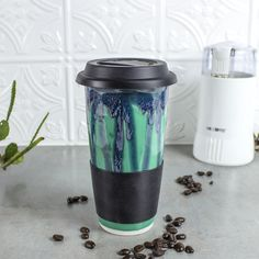 Travel Mug with Lid, To Go Mug with Silicone Lid, Gift for everyone, Mint Green BlueRoomPottery handmade pottery Kitchen gourmet for him her by blueroompottery on Etsy https://www.etsy.com/listing/210222583/travel-mug-with-lid-to-go-mug-with
