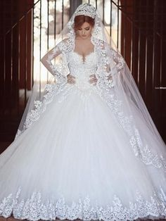 Glamorous Ball Gown V-neck Tulle Chapel Train Appliques Lace Long Sleeve Wedding Dresses #Milly00022710