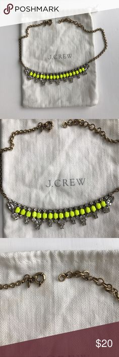 """J. Crew Neon Baguette Necklace with Rhinestone J. Crew Neon Baguette Necklace with Rhinestone. Never worn! 18"""" in length with 3"""" extender chain for adjustable length. J. Crew Jewelry Necklaces"""