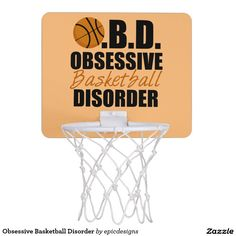 Obsessive Basketball Disorder Mini Basketball Backboard in orange and black. A cool and funny basketball gift for a sports fan who likes humor. Great Christmas gift for the office or a dorm room to hang on a door.