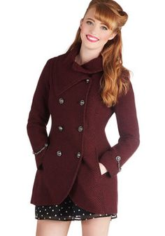 Resort to Style Coat. After a day of sledding, youre ready to swap your snowsuit for this elegant woven coat! #red #modcloth