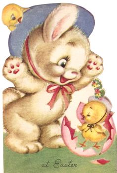 Bunny and Baby Chick Vintage Easter Card Easter Illustration, Children's Book Illustration, Easter Art, Hoppy Easter, Easter Bunny, Vintage Greeting Cards, Vintage Postcards, Vintage Images, Retro Vintage