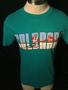Vintage 1980's Colorado Skiing T-Shirt 50/50  Thin Soft Colorful by 413productions on Etsy