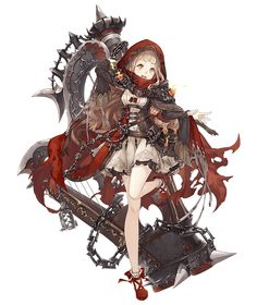 View an image titled 'Red Riding Hood, Minstrel Job Art' in our SINoALICE art gallery featuring official character designs, concept art, and promo pictures. Female Character Design, Character Design References, Character Design Inspiration, Character Concept, Character Art, Concept Art, Fantasy Characters, Anime Characters, Desu Desu