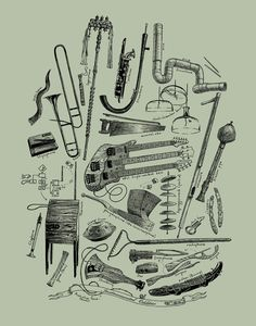 Instrumental Oddities 16x20 Music Art Music by ScatterbrainPrints, $29.00
