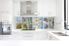 Printed image on glass kitchen splashback / backsplash by Lucy G. 'Aotearoa' http://www.lucygsplashbacks.co.nzLucy works with customers all over the world.