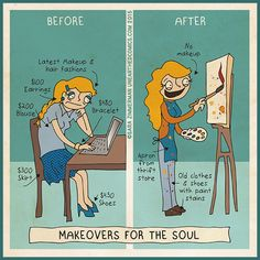inspirational comic poking fun at magazine makeovers and making makeovers for the soul