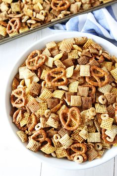 Brown Butter Chex Mix Recipe on twopeasandtheirpod.com The brown butter makes the traditional Chex Mix even better!