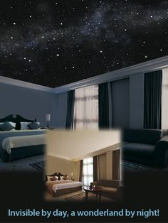 In some of the finest hotels, resorts, and mansions, in the world.. The most coveted interior upgrade is now available to the general public!  Hand painted, astronomically correct, breathtakingly realistic illusionary mural of the starry night sky, painted directly on your ceiling and even walls!  With the lights on, your room looks normal... Darken the room and WOW! Your ceiling appears to have been lifted right off! You're gazing up into the most beautiful starry sky you've ever seen!
