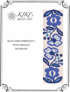 This is an own designed pattern in PDF format, downloadable directly from ETSY.  This pattern is for my blue flower embroidery peyote bracelet, which is created in even 2 drop peyote.  The pdf file includes for both versions: 1. a large picture of the pattern 2. a large, detailed graph of the pattern, 3. a bead legend with the colour numbers and count of the delica beads for the suggested length 4. a word chart of the pattern  Please note that my patterns do not include instructions for how…
